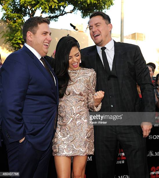 Actors Jonah Hill Jenna DewanTatum and Channing Tatum attend the Premiere Of Columbia Pictures' '22 Jump Street' at Regency Village Theatre on June...