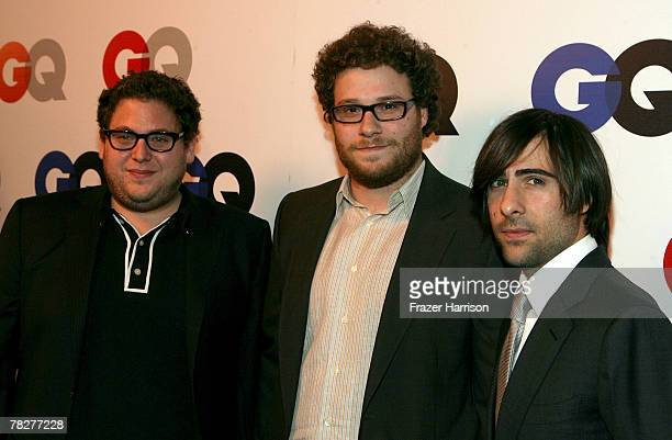 Actors Jonah Hill Seth Rogen and Jason Schwartzman arrives at the GQ 2007 Men Of The Year celebration at Chateau Marmont on December 5 2007 in...