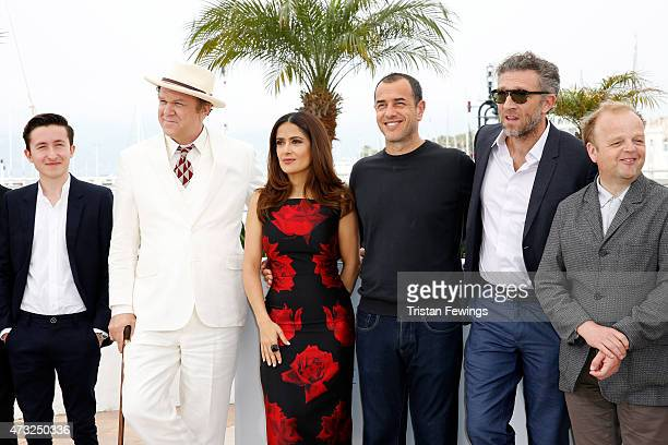 Actors Jonah Lees Bebe Cave John C Reilly Salma Hayek director Matteo Garrone actors Vincent Cassel and Toby Jones attend a photocall for Il Racconto...