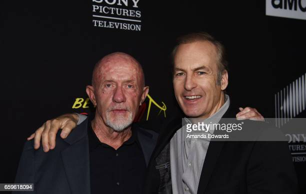 Actors Jonathan Banks and Bob Odenkirk arrive at the premiere of AMC's 'Better Call Saul' Season 3 at Arclight Cinemas Culver City on March 28 2017...