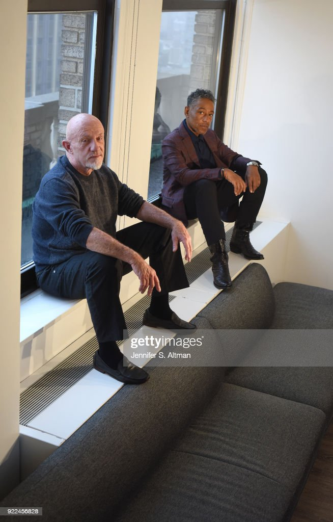 Actors Jonathan Banks and Giancarlo Esposito are photographed for Los Angeles Times on April 6, 2017 in New York City.
