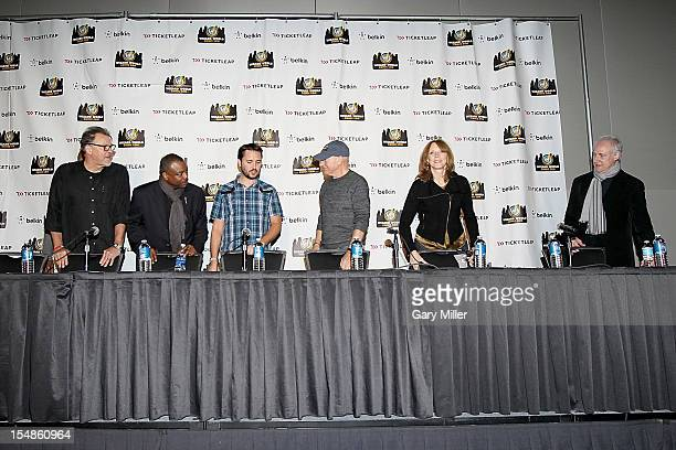 Actors Jonathan Frakes LeVar Burton Wil Wheaton Sir Patrick Stewart Gates McFadden and Brent Spiner attend the 25th anniversary reunion of the cast...
