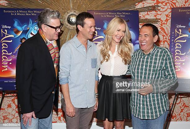 Actors Jonathan Freeman Scott Weinger Linda Larkin and Gilbert Gottfried attend Disney's Aladdin Broadway Press Day at the Crosby Street Hotel on...