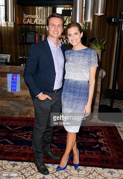 Actors Jonathan Groff and Allison Williams attend the Variety Studio powered by Samsung Galaxy on May 28 2014 in West Hollywood California