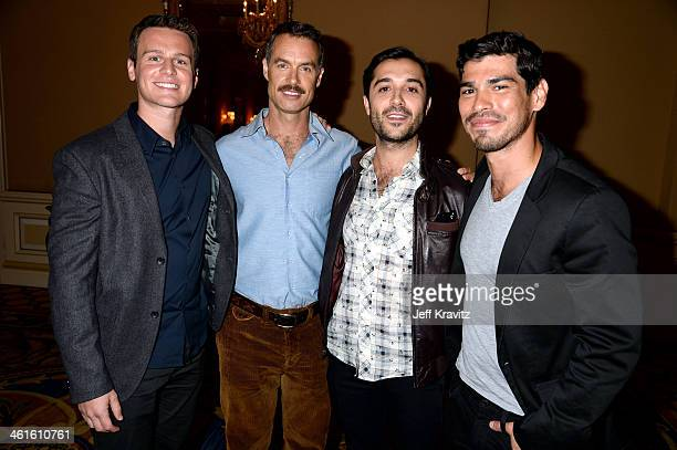 Actors Jonathan Groff Murray Bartlett Frankie J Alvarez and actor Raul Castillo attend the HBO Winter 2014 TCA Panel at The Langham Huntington Hotel...