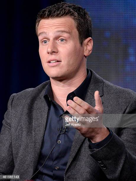Actors Jonathan Groff speaks at the 'Looking' panel during the HBO Winter 2014 TCA Panel at The Langham Huntington Hotel and Spa on January 9 2014 in...