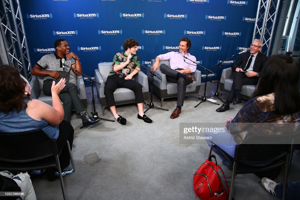 Actors Jonathan Majors, Richie MerrittÊand Matthew McConaughey talk with Editorial Director of People and EW Jess Cagle during SiriusXM's Town Hall with Matthew McConaughey And The Cast Of 'White Boy Rick' on September 12, 2018 in New York City.
