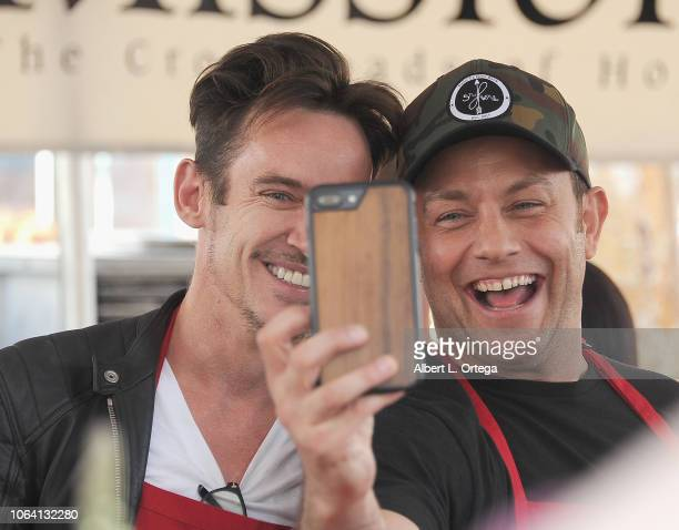 Actors Jonathan Rhys Meyers and Jonathan Sadowski attendsthe Los Angeles Mission hosts a Thanksgiving event for the homeless held at Los Angeles...