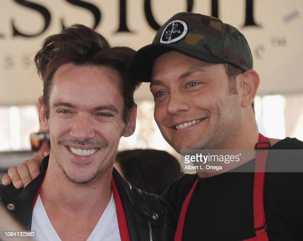 Actors Jonathan Rhys Meyers and Jonathan Sadowski attendsthe Los Angeles Mission hosts Thanksgiving Event for the Homeless held at Los Angeles...