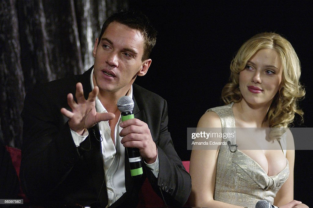 Actors Jonathan Rhys-Meyers and Scarlett Johansson participate in a Q&A session at the Variety Screening Series of 'Match Point' at the Arclight Theaters on December 8, 2005 in Hollywood, California.