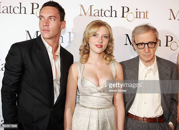 """Actors Jonathan Rhys-Meyers , Scarlett Johansson and Writer/director Woody Allen pose at the premiere of DreamWorks' """"Match Point"""" at the Los Angeles..."""