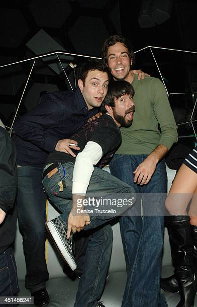 Actors Jonathan Sadowski Josh Gomez and Zachary Levi attend the Maroon 5 after party at MOON Nigthclub at The Palms Casino Resort on November 10 2007...