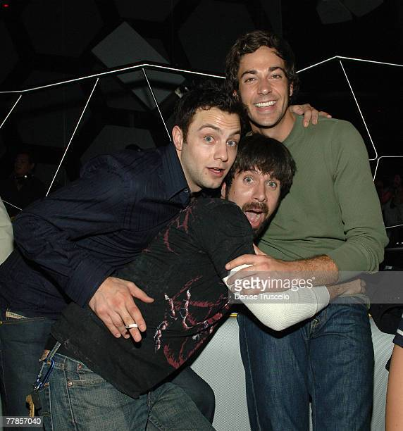 LAS VEGAS NOVEMBER 10 Actors Jonathan Sadowski Josh Gomez and Zachary Levi attend the Maroon 5 after party at MOON Nigthclub at The Palms Casino...