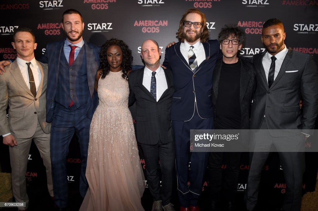 Actors Jonathan Tucker, Pablo Schreiber, Yetide Badaki, Writer/executive producer Michael Green, Writer/executive producer Bryan Fuller, writer Neil Gaiman and actor Ricky Whittle attend the 'American Gods' premiere at ArcLight Hollywood on April 20, 2017 in Los Angeles, California.