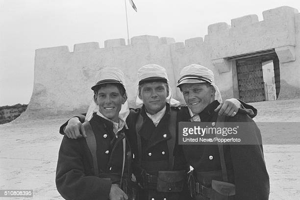 Actors Jonathon Morris Benedict Taylor and Anthony Calf dressed in character as the Geste brothers in the television series Beau Geste on location on...