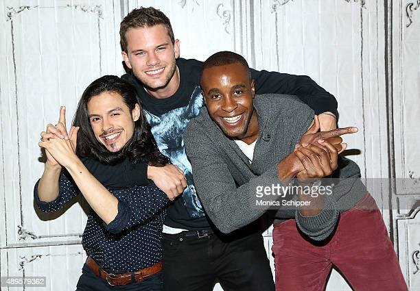 Actors Jonny Beauchamp Jeremy Irvine and Otoja Abit attend AOL Build Presents 'Stonewall' at AOL Studios In New York on September 22 2015 in New York...