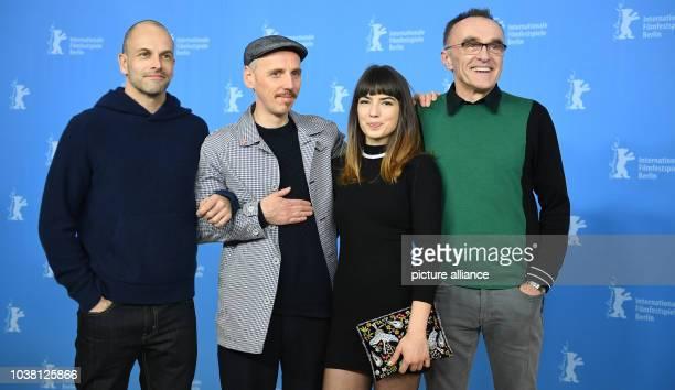Actors Jonny Lee Miller Ewen Bremner Anjela Nedyalkova and director Danny Boyle at the 67th International Berlin Film Festival for the premiere of...