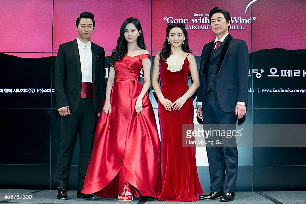 Actors Joo JinMo Bada Seohyun of South Korean girl group Girls' Generation and Kim PubLae attend the press conference for musical Gone With The Wind...