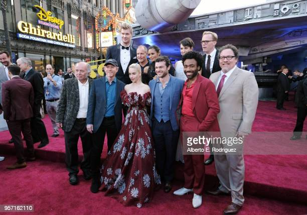 Actors Joonas Suotamo Woody Harrelson Thandie Newton Phoebe WallerBridge and Paul Bettany Actor Clint Howard Director Ron Howard and actors Emilia...