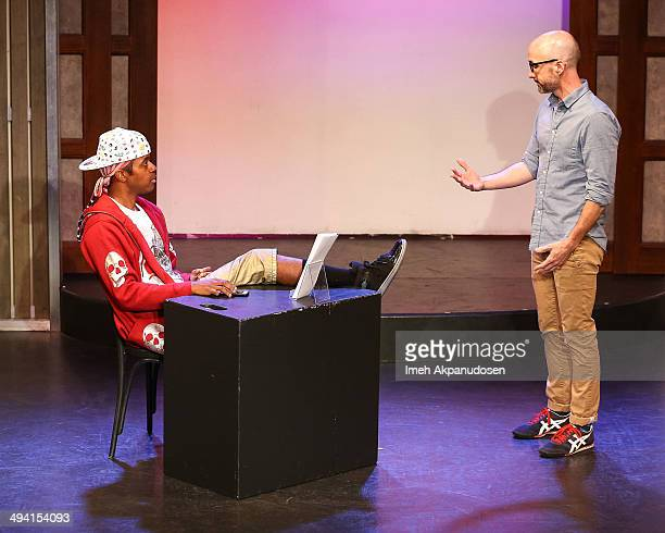 Actors Jordan Black and Jim Rash perform onstage at The Groundlings Theatre's celebration of their 40th Anniversary with '2000's Decade Night' at The...