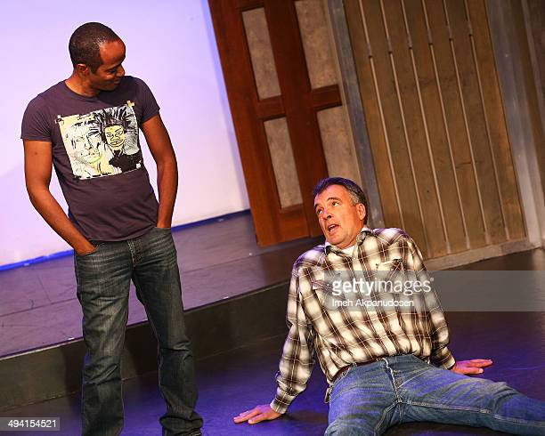 Actors Jordan Black and Kevin Ruf perform onstage at The Groundlings Theatre's celebration of their 40th Anniversary with '2000's Decade Night' at...