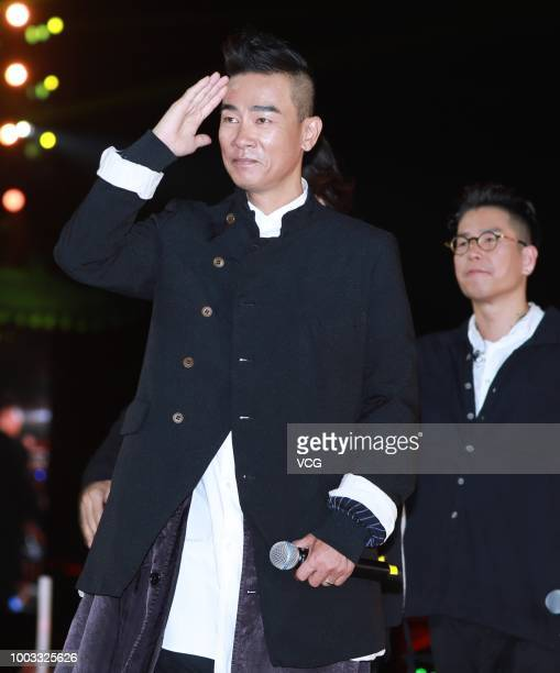 Actors Jordan Chan SiuChun and Jerry Lamb Hiufung perform onstage during the opening ceremony of the 4th Annual International Jackie Chan Action...