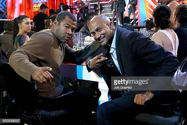 Actors Jordan Peele and KeeganMichael Key attend the 2016 TV Land Icon Awards at The Barker Hanger on April 10 2016 in Santa Monica California
