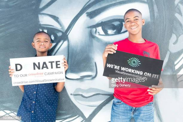 Actors Jordan Plants and Kobe Saladin show support for the Visual Snow Initiative at TAP The Artists Project on August 29 2018 in Los Angeles...