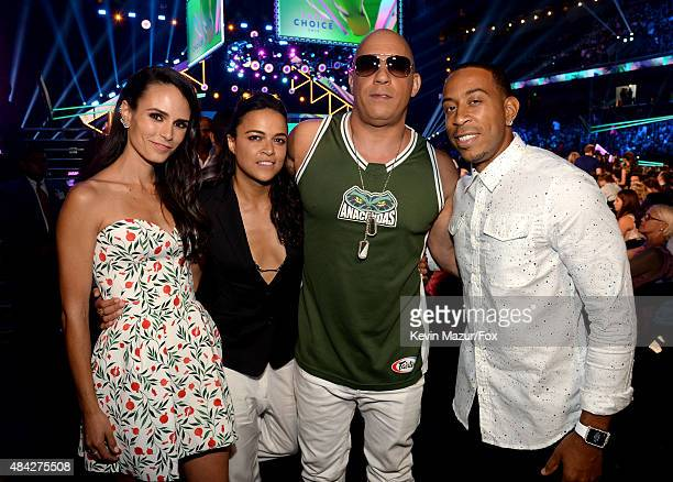 Actors Jordana Brewster Michelle Rodriguez Vin Diesel and Ludacris attend the Teen Choice Awards 2015 at the USC Galen Center on August 16 2015 in...