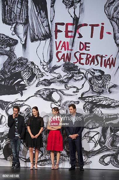Actors Jordi Molla Aitana Sanchez Gijon Leonor Watling and Javier Bardem attend 'Bigas X Bigas' premiere during 64th San sebastian International Film...