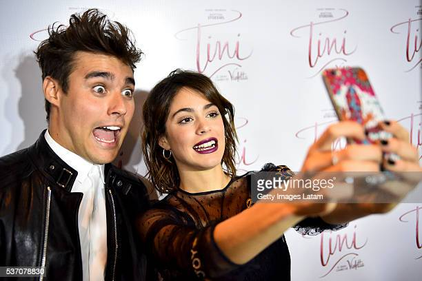 Actors Jorge Blanco and Martina Stoessel take a picture of themselves prior to TINI El Gran Cambio de Violetta The Avant Premiere on May 31 2016 in...