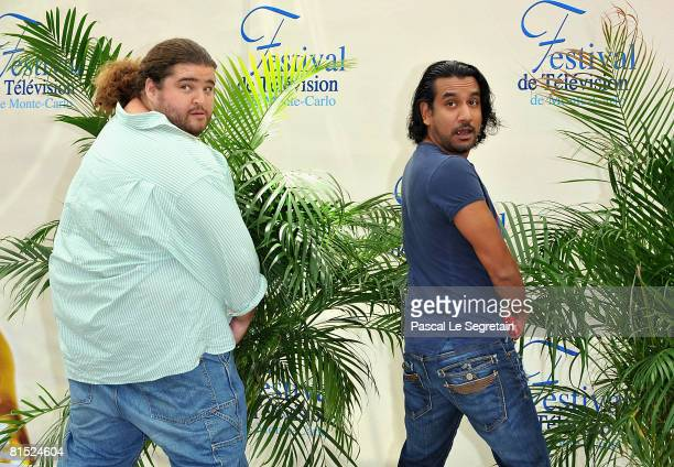 Actors Jorge Garcia and Naveen Andrews attend a photocall promoting the television series Lost on the fourth day of the 2008 Monte Carlo Television...