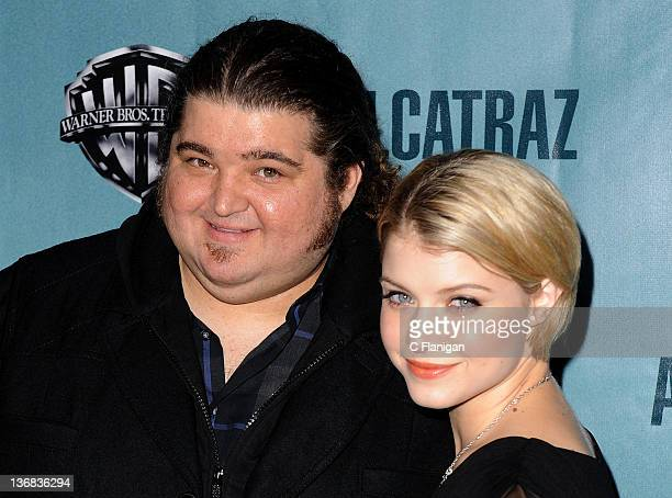 "Actors Jorge Garcia and Sarah Jones arrive at the premiere party for FOX's new series ""Alcatraz"" at Alcatraz Island on January 11, 2012 in San..."