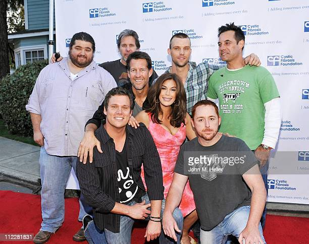 Actors Jorge Garcia, Gary Cole, Jesse Spencer, Adrian Pasdar, James Denton, Teri Hatcher ,Bob Guiney and Scott Grimes pose with The Band From TV at...
