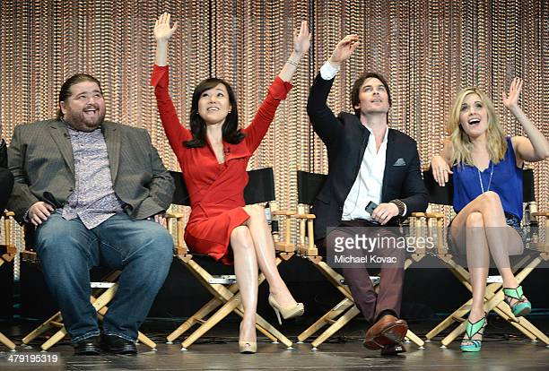 Actors Jorge Garcia Yunjin Kim Ian Somerhalder and Maggie Grace participate in a panel discussion at The Paley Center For Media's PaleyFest 2014...