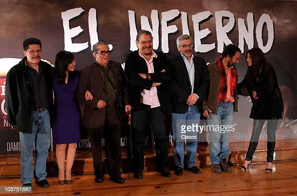Actors Jorge Zarate Maria Rojo Ernesto Gomez Cruz Joaquin Cosio Luis Estrada Damian Alcazar and Elizabeth Cervantes pose for a photo during a press...