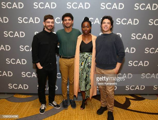 Actors Jorma Taccone Karan Soni Sasha Compère and Jon Bass attend the Miracle Workers press junket during SCAD aTVfest 2019 at SCADshow on February 7...