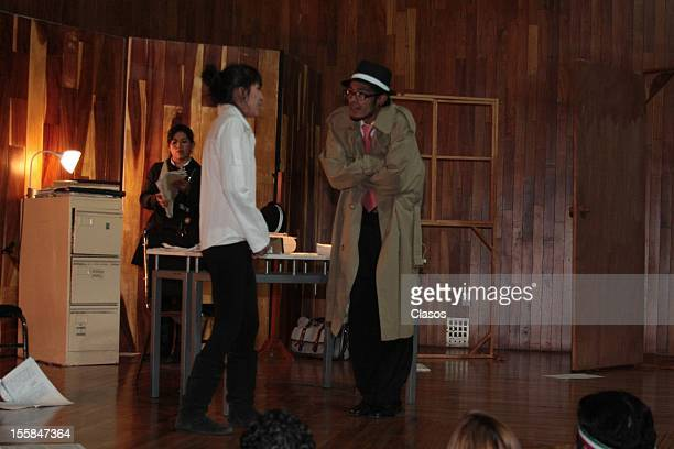 Actors Jose Carlos Ruiz Laura Zapata Isabel Martinez and Lozano Irla act on stage during their visit to the FES Acatlan where they attended as guests...