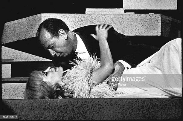 Actors Jose Ferrer and Karen Black in a scene from Arthur Miller's stage play After the Fall