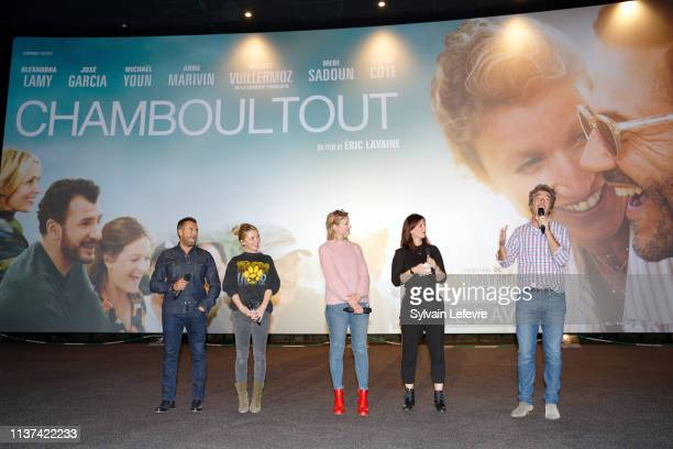 Actors Jose Garcia Anne Marivin and Alexandra Lamy and director Eric Lavaine attend the 'Chamboultout' Premiere on March 21 2019 in Lille France