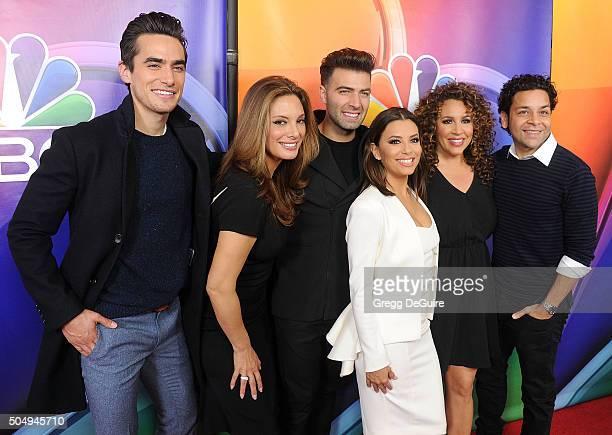 Actors Jose Moreno Brooks Alex Meneses Jencarlos Canela Eva Longoria DianaMaria Riva and Izzy Diaz of Telenovela arrive at the 2016 NBCUniversal...