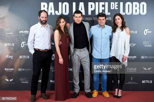 Actors Josean Bengoetxea Irene Escolar Mario Casas director Samu Fuentes and actress Ruth Diaz attend 'Bajo La Piel Del Lobo' photocall at the Torre...
