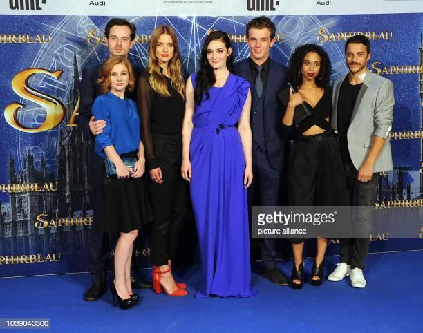 Actors Josefine Preuss , Florian Bartholomai, Laura Berlin, Maria Ehrich, Jannis Niewöhner, Jennifer Lotsi and Kostja Ullmann pose before the...