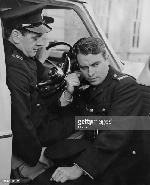 Actors Joseph Brady as Jock Weir and Brian Blessed as Fancy Smith during rehearsals for the television police drama 'ZCars' at the BBC Television...