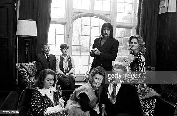 Actors Joseph Cotton, Betsy Blair, Kate Reid, Paul Scofield, Katherine Hepburn and Lee Remick with playwright Edward Albee during the shooting of the...