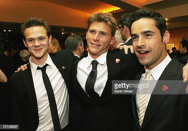 Actors Joseph Cross Scott Reeves and Jesse Bradford pose at the afterparty for the premiere of Paramount's 'Flags Of Our Fathers' at the Academy of...