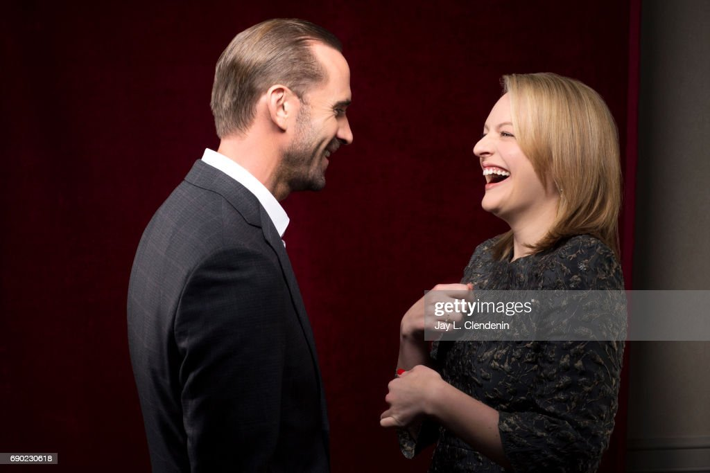 Actors Joseph Fiennes and Elisabeth Moss of Hulu's 'The Handmaid's Tale,' are photographed for Los Angeles Times on April 25, 2017 in Los Angeles, California. PUBLISHED IMAGE.