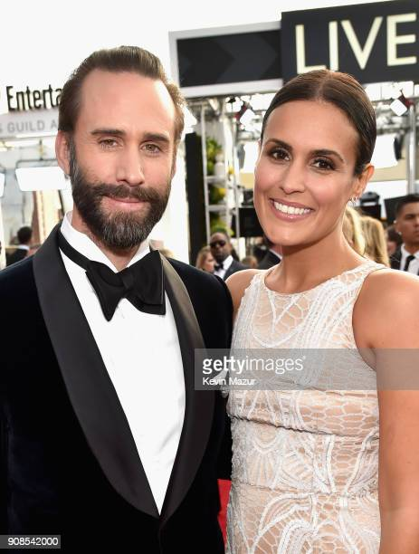 Actors Joseph Fiennes and María Dolores Diéguez attend the 24th Annual Screen Actors Guild Awards at The Shrine Auditorium on January 21 2018 in Los...