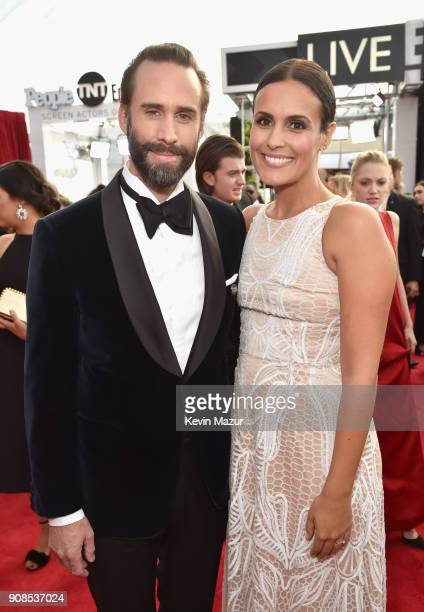Actors Joseph Fiennes and Maria Dolores Dieguez attend the 24th Annual Screen Actors Guild Awards at The Shrine Auditorium on January 21 2018 in Los...