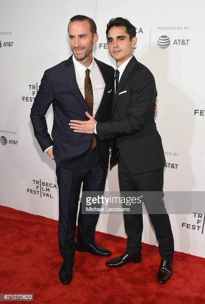 Actors Joseph Fiennes and Max Minghella attend The Handmaid's Tale Premiere at BMCC Tribeca PAC on April 21 2017 in New York City